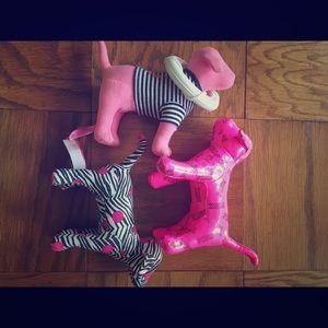 Set of 3 VS Pink Plush Dogs